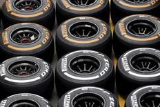Pirelli tyres are seen in the paddock ahead of the weekend's Italian F1 Grand Prix in Monza in this September 4, 2014 file photo.REUTERS/Max Rossi