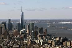 One World Trade Center towers over lower Manhattan in New York April 16, 2014. REUTERS/Brendan McDermid