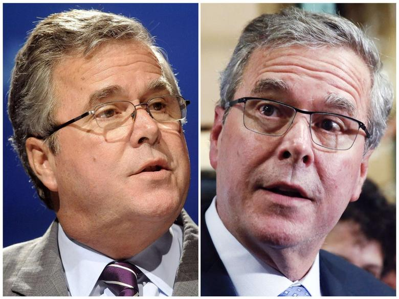 A combination of file photos of former Florida Governor Jeb Bush shows him speaking in Lake Buena Vista, Florida, June 21, 2012 (L) and campaigning in Hudson, New Hampshire March 13, 2015.  REUTERS/David Manning/Shannon Stapleton/Files