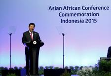 China's President Xi Jinping delivers a speech at a plenary session during the Asian-African Conference in Jakarta April 22, 2015.   REUTERS/Beawiharta