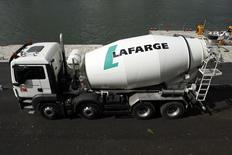 A concrete mixing truck is seen at French building material Lafarge concrete production plant in Paris, France, April 28, 2015. REUTERS/Benoit Tessier
