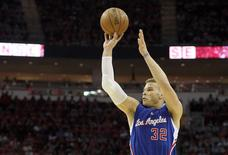 Los Angeles Clippers forward Blake Griffin (32) shoots against the Los Angeles Clippers in the second half in game one of the second round of the NBA Playoffs at Toyota Center. Los Angeles Clippers won 117 to 101. Mandatory Credit: Thomas B. Shea-USA TODAY Sports