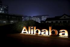 The logo of Alibaba Group is seen inside the company's headquarters in Hangzhou, Zhejiang, China province, in this November 11, 2014 file picture. When it comes to fighting fakes, Alibaba's head of internet security says cooperation beats the courtroom any day. REUTERS/Aly Song/Files