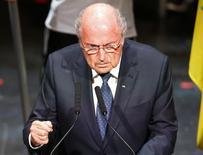 Presidente da Fifa, Joseph Blatter, durante cerimônia de abertura do Congresso da Fifa, em Zurique.  28/05/2015   REUTERS/Arnd Wiegmann
