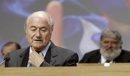 Presidente da Fifa, Joseph Blatter, durante congresso da entidade em Zurique, na Suíça. 01/06/2011 REUTERS/Arnd Wiegmann
