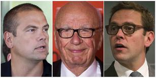 Rupert Murdoch (C), executive chairman of News Corporation, and his sons Lachlan (L) and James (R) are seen in a combination of file photos. REUTERS/Rick Wilking/Lucas Jackson/Adrees Latif/Files