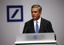 Anshu Jain, co-CEOs of Deutsche Bank, addresses the bank's annual general meeting in Frankfurt, Germany, May 21, 2015. REUTERS/Kai Pfaffenbach