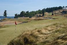 Jun 15, 2015; University Place, WA, USA; General view of the 16th hole during practice rounds on Monday at Chambers Bay. John David Mercer-USA TODAY Sports