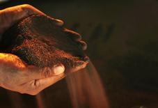 Un trabajador sostiene un puñado de níquel en la planta de Vale cerca de Sorowako, Indonesia, ene 8 2014. El níquel se recuperó el martes de mínimos de seis años para cerrar en alza, mientras que otros metales cayeron por liquidación de posiciones especulativas ante la preocupación por un exceso de suministros, la incertidumbre en el mayor consumidor de metales China y la crisis de deuda en Grecia.  REUTERS/Yusuf Ahmad
