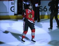 Jun 10, 2015; Chicago, IL, USA; Chicago Blackhawks left wing Brandon Saad (20) celebrates after defeating the Tampa Bay Lightning 2-1 in game four of the 2015 Stanley Cup Final at United Center. Mandatory Credit: David Banks-USA TODAY Sports