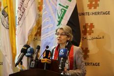 Diretora=geral da Unesco, Irina Bokova, durante entrevista coletiva em Bagdá. 28/03/2215 REUTERS/Ahmad Mousa