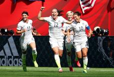 United States midfielder Carli Lloyd (10) celebrates with teammates after scoring against Japan during the first half of the final of the FIFA 2015 Women's World Cup  in Vancouver July 5, 2015.   Mandatory Credit: Michael Chow-USA TODAY Sports