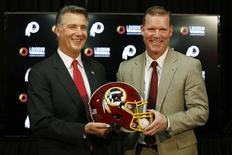 Washington Redskins president Bruce Allen (left) and Washington Redskins new general manager Scot McCloughan pose for a picture at an introductory press conference for McCloughan at Redskins Park. Mandatory Credit: Geoff Burke-USA TODAY Sports