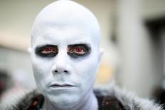 Alejandro Castillo dresses as White Walker from Game Of Thrones. REUTERS/Sandy Huffaker