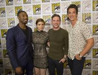 "Cast members Michael B. Jordan (L), Kate Mara, Jamie Bell and Miles Teller (R) pose at a press line for ""Fantastic Four"" during the 2015 Comic-Con International Convention in San Diego, California July 11, 2015. REUTERS/Mario Anzuoni"