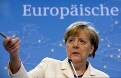 Chanceler alemã, Angela Merkel, durante entrevista coletiva em Bruxelas. 13/07/2015   REUTERS/Philippe Wojazer