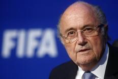 Presidente da Fifa, Joseph Blatter, em entrevista coletiva em Zurique. 20/07/2015   REUTERS/Arnd Wiegmann