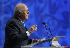 FIFA President Sepp Blatter addresses during the preliminary draw for the 2018 FIFA World Cup at Konstantin Palace in St. Petersburg, Russia July 25, 2015. REUTERS/Maxim Shemetov