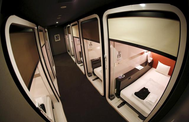 ''Business-class'' cabins are seen at First Cabin hotel, which was converted from an old office building, in Tokyo, July 3, 2015. REUTERS/Toru Hanai