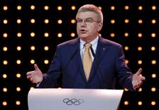 International Olympic Committee's (IOC) President Thomas Bach speaks during the Almaty 2022 Presentation at the 128th IOC Session in Malaysia's capital city of Kuala Lumpur July 31, 2015. REUTERS/Edgar Su