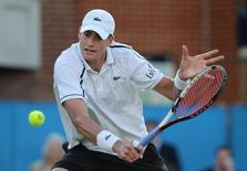 USA's John Isner in action during his quarter final match at the Aegon Championships at Queens Club, London, in this file photo taken on June 19, 2015. Action Images via Reuters / Paul Childs