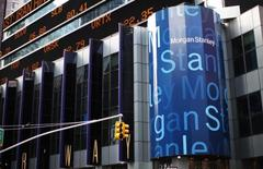 The corporate logo of financial firm Morgan Stanley is pictured on the company's world headquarters in the Manhattan borough of New York City, January 20, 2015.    REUTERS/Mike Segar