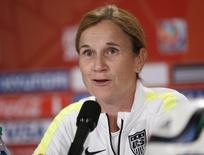 Jul 4, 2015; Vancouver, BC, CAN; United States head coach Jill Ellis responds to a question during a press conference after a training session for the 2015 Women's World Cup at B.C. Place. Michael Chow-USA TODAY Sports