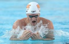 Aug 8, 2014; Irvine, CA, USA;  Tyler Clary wins the Men's 400m Individual Medly final at the USA Swimming Nationals at the William Woollett Jr. Aquatics Complex.  Jayne Kamin-Oncea-USA TODAY Sports
