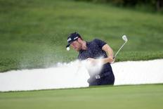David Lingmerth hits a shot from the bunker on the 8th hole in the third round of the Quicken Loans National golf tournament at Robert Trent Jones Golf Club in Gainesville August 1, 2015. Mandatory Credit: Rafael Suanes-USA TODAY Sports