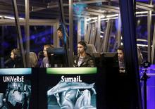 Members of Evil Geniuses compete in the Grand Finals of The International Dota 2 Championships at Key Arena in Seattle, Washington August 8, 2015. REUTERS/Jason Redmond