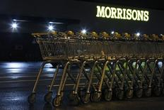 Shopping trolleys are stacked in the car park of a Morrisons supermarket store in Croydon, south London January 12, 2015.  REUTERS/Luke MacGregor