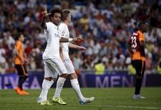Marcelo, do Real Madrid, comemora gol contra o Galatasaray no estádio Santiago Bernabeu, em Madri, na Espanha, nesta terça-feira. 18/08/2015 REUTERS/Juan Medina