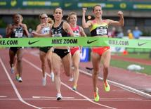 Jun 28, 2015; Eugene, OR, USA ; Jenny Simpson celebrates after defeating Shannon Rowbury to win the womens 1,500m in 4:14.86 in the 2015 USA Championships at  Hayward Field. Kirby Lee-USA TODAY Sports