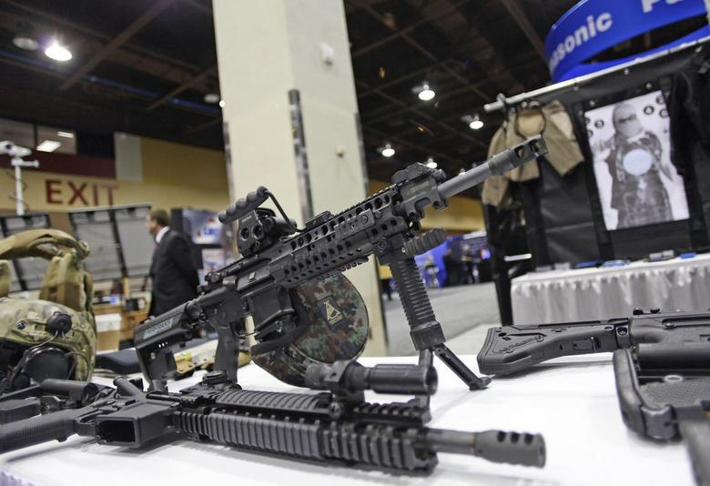 An AR-15 style rifle is displayed at the 7th annual Border Security Expo in Phoenix, Arizona, in this file photo taken March 12, 2013.  REUTERS/Joshua Lott/Files