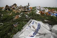 Обломки лайнера Boeing 777 компании Malaysian Airlines у села Россыпное. 18 июля 2014 года. Окончательный доклад о причинах прошлогоднего падения на восточной Украине боинга Malaysia Airlines, летевшего из Амстердама в Куала-Лумпур, будет опубликован 13 октября, сообщило в четверг Управление безопасности Нидерландов. REUTERS/Maxim Zmeyev