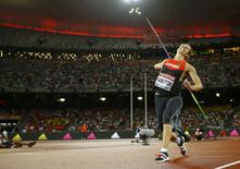 Kathrina Molitor of Germany competes in the women's javelin throw final during the 15th IAAF World Championships at the National Stadium in Beijing, China, August 30, 2015.  REUTERS/Kai Pfaffenbach