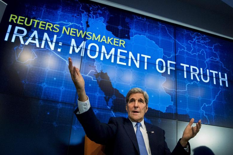 U.S. Secretary of State John Kerry speaks during a Reuters Newsmaker event on the nuclear agreement with Iran, in New York August 11, 2015. REUTERS/Brendan McDermid