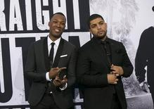 "Cast members Corey Hawkins, who portrays Dr. Dre, and O'Shea Jackson Jr., who portrays Ice Cube, pose at the premiere of ""Straight Outta Compton"" in Los Angeles, California August 10, 2015. REUTERS/Mario Anzuoni"