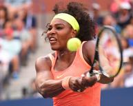 Sep 6, 2015; New York, NY, USA;  Serena Williams of the USA hits to Madison Keys of the USA on day seven of the 2015 U.S. Open tennis tournament at USTA Billie Jean King National Tennis Center. Mandatory Credit: Robert Deutsch-USA TODAY Sports