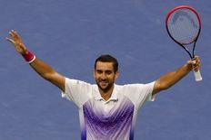 Marin Cilic of Croatia celebrates after defeating Jo-Wilfried Tsonga of France in five sets during their quarterfinals match at the U.S. Open Championships tennis tournament in New York, September 8, 2015.      REUTERS/Shannon Stapleton