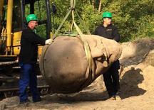 Cabeça de estátua gigante de Lênin é desencavada em Berlim.  10/9/2015.   REUTERS/Martin Schlicht