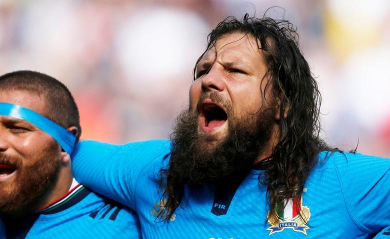 Rugby Union - Scotland v Italy - Murrayfield Stadium, Edinburgh, Scotland - 29/8/15Italy's Martin Castrogiovanni sings the national anthem before matchAction Images via Reuters / Russell CheyneLivepicEDITORIAL USE ONLY.