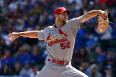 Sep 19, 2015; Chicago, IL, USA; St. Louis Cardinals starting pitcher Michael Wacha (52) pitches against the Chicago Cubs at Wrigley Field. Mandatory Credit: Jasen Vinlove-USA TODAY Sports