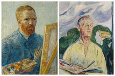 "A combination of photos provided by Van Gogh Museum in Amsterdam to Reuters on September 22, 2015, show the painting ""Self-Portrait as a Painter"" by Vincent van Gogh, 1887-1888, Van Gogh Museum, Amsterdam (Vincent van Gogh Foundation) (L) and the painting ""Self-Portrait with Palette"" by Edvard Munch, 1926, Private collection, which will be presented hanging side by side for the first time at an exhibit opening at the Van Gogh Museum in the Netherlands opening Friday.   REUTERS/Van Gogh Museum Amsterdam/Handout via Reuters"