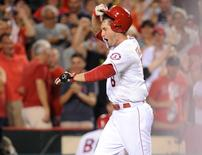 September 26, 2015; Anaheim, CA, USA; Los Angeles Angels third baseman David Freese (6) celebrates after he hits a solo home run to win the game 3-2 in the ninth inning against the Seattle Mariners at Angel Stadium of Anaheim. Mandatory Credit: Gary A. Vasquez-USA TODAY Sports