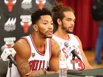 Sep 28, 2015; Chicago, IL, USA; Chicago Bulls guard Derrick Rose (1) speaks during media day at The Advocate Center. Mandatory Credit: Caylor Arnold-USA TODAY Sports