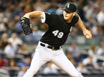 Sep 24, 2015; Bronx, NY, USA; Chicago White Sox starting pitcher Chris Sale (49) pitches against the New York Yankees in the third inning at Yankee Stadium. Mandatory Credit: Andy Marlin-USA TODAY Sports