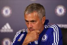 Técnico do Chelsea, José Mourinho, durante entrevista coletiva.  02/10/2015  Action Images via Reuters / Alex Morton Livepic