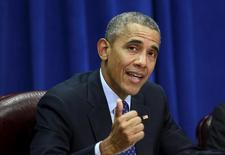 Presidente dos Estados Unidos, Barack Obama, fala para líderes empresariais e agrícolas durante visita ao Departamento de Agricultura, em Washington 6/10/2015.  REUTERS/Kevin Lamarque