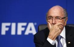 Presidente da Fifa, Joseph Blatter, durante evento do Comitê Executivo da organização, em Zurique.  20/07/2015       REUTERS/Arnd Wiegmann